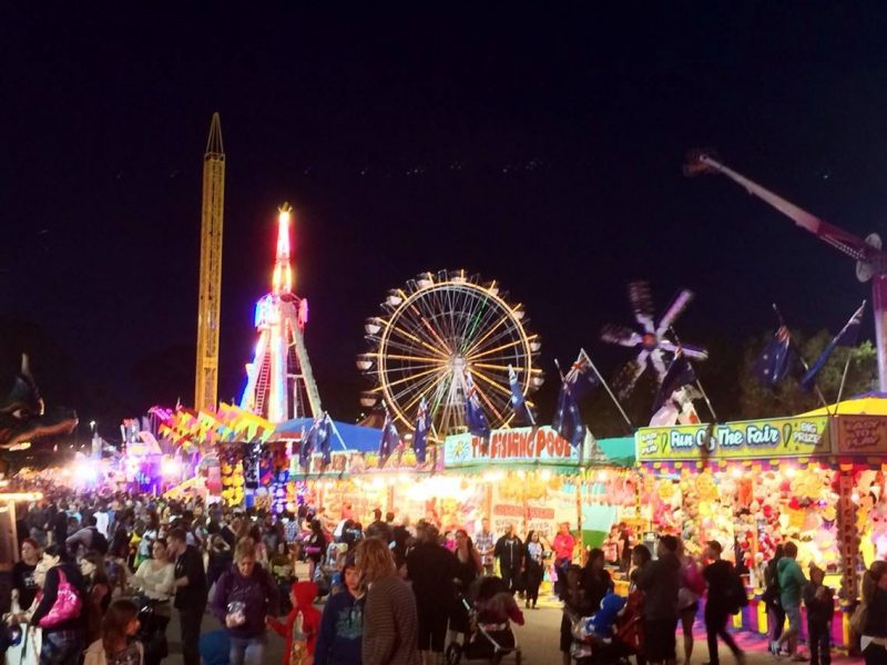 Royal Show at night with crowds