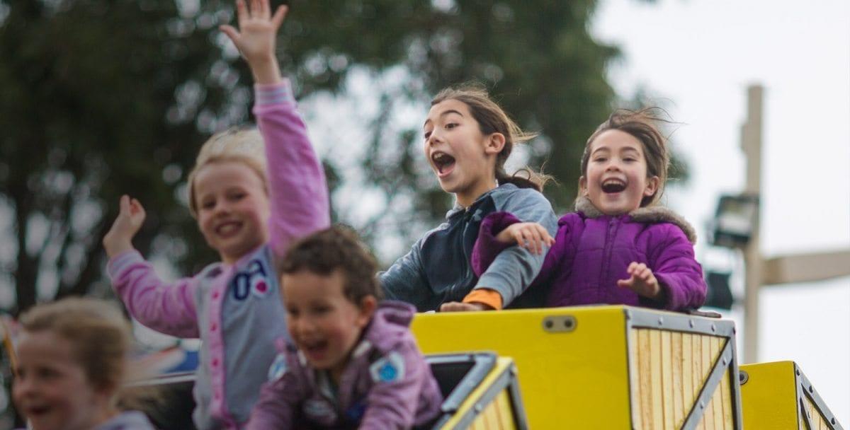 Girls having fun on Runaway Train