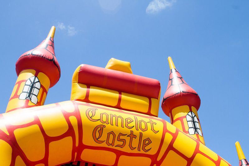 Looking up at the Camelot Castle