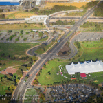 Aerial Shot of big tent in Stirling