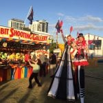 Performers in front of Shooting Gallery
